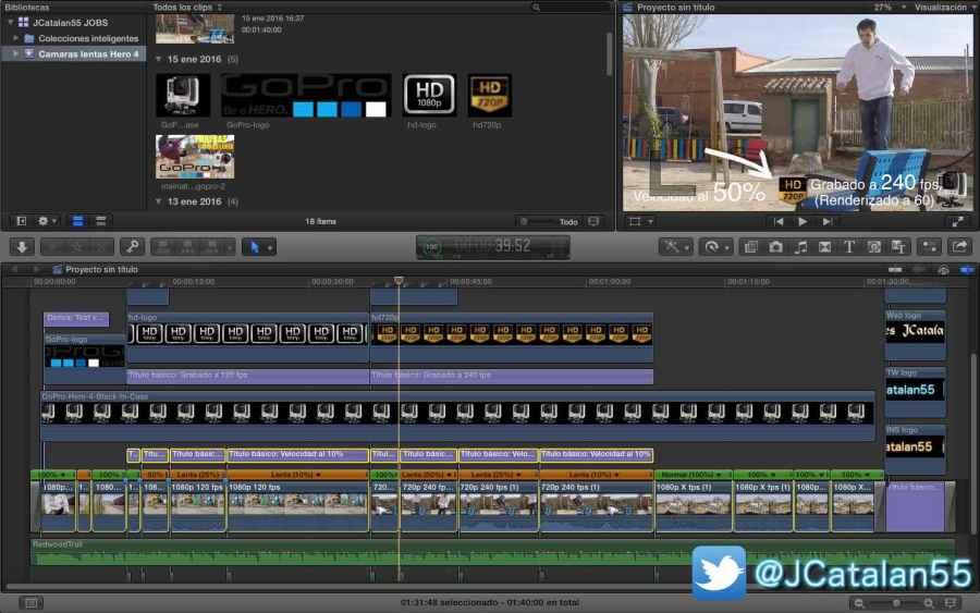 Este es el vídeo ya terminado en el programa de edición y montaje. Pongo esta captura para que observéis la simpleza que es.