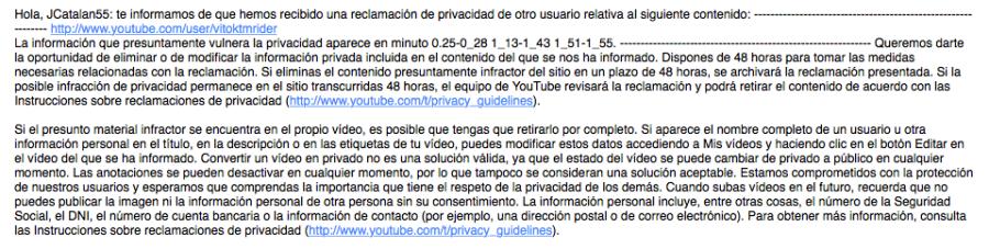 El mail de YouTube que me ha enviado la tarde de hoy, 16 de marzo. Pinchar para ver la imagen en su tamaño original.