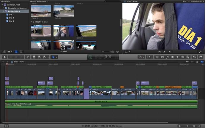"""Como siempre, aquí tenéis el vídeo terminado dentro de Final Cut Pro X. Como curiosidad puedo mencionar qie este es el primer vídeo que he """"editado"""" en esta versión del programa, la última hasta la fecha, FCPX 10.2.3. (Click para ampliar)."""