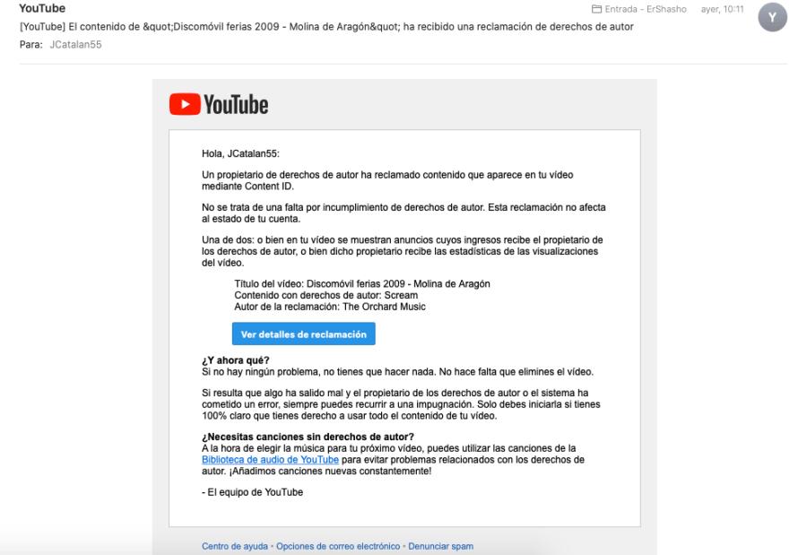 Youtube me reclama