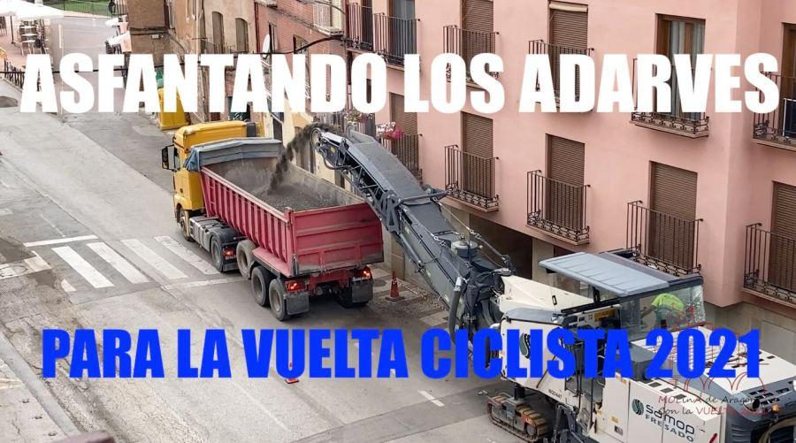 Asfaltando los Adarves de Molina de Aragón para la Vuelta Ciclista 2021 (vídeo)