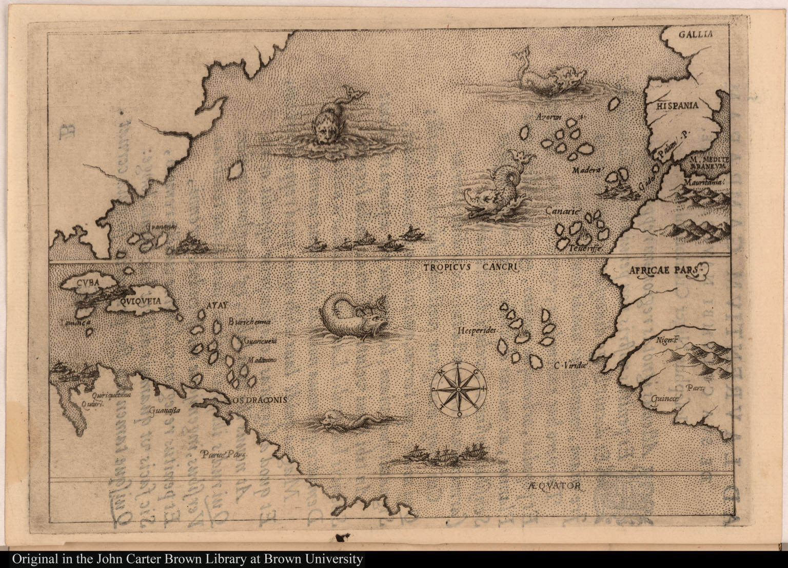 Map Illustrating The Voyage Of Christopher Columbus