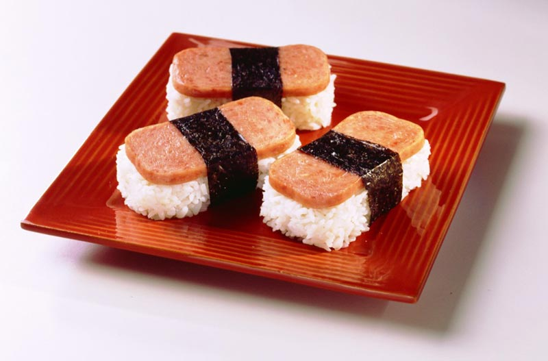 SPAM-Musubi-on-red-plate
