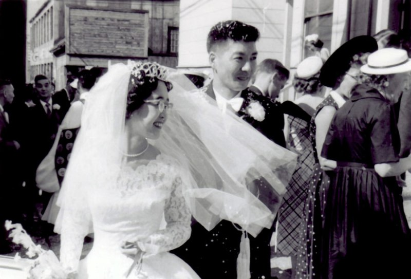 Betty and Roy Inouye, wedding day, Vancouver Buddhist Temple, July 11, 1959.  Their marriage started a leadership team that led the community for 55 years.