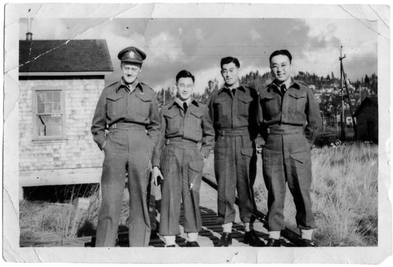 NNM 2012-55-2-4 Thomas Shoyama, George Tanaka & Roger Obata at the S-20 Japanese Language School, Ambleside BC 1945
