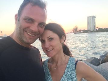 """Bernadette Carroll and Eric White in Fort Lauderdale, Fla. """"This is one of my fondest memories, because I am with the love of my life enjoying beautiful weather while watching the sunset,"""" Carroll said."""