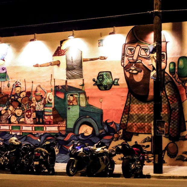 Wynwood murals lit up after hours. Miami.
