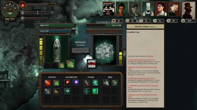 A combat display shows your steam ship and an iceberg-like creature, below which are several options entitled 'attack', 'illuminate', 'evade' and 'misc'.