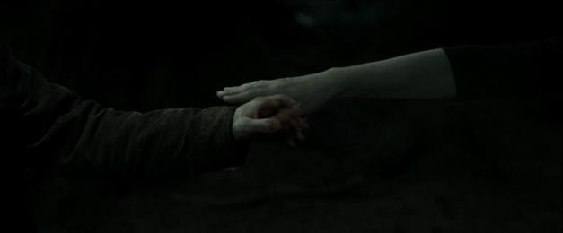 Harry's hand reaches through his mother's ghostly, intangible one.