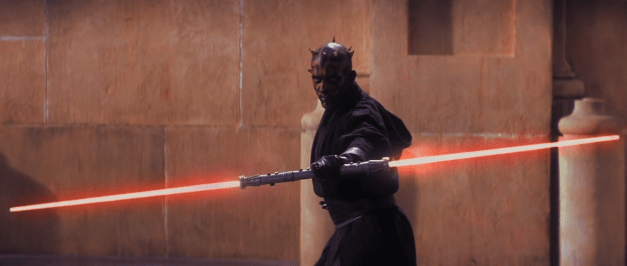 Darth Maul wields a double-ended, red lightsaber.