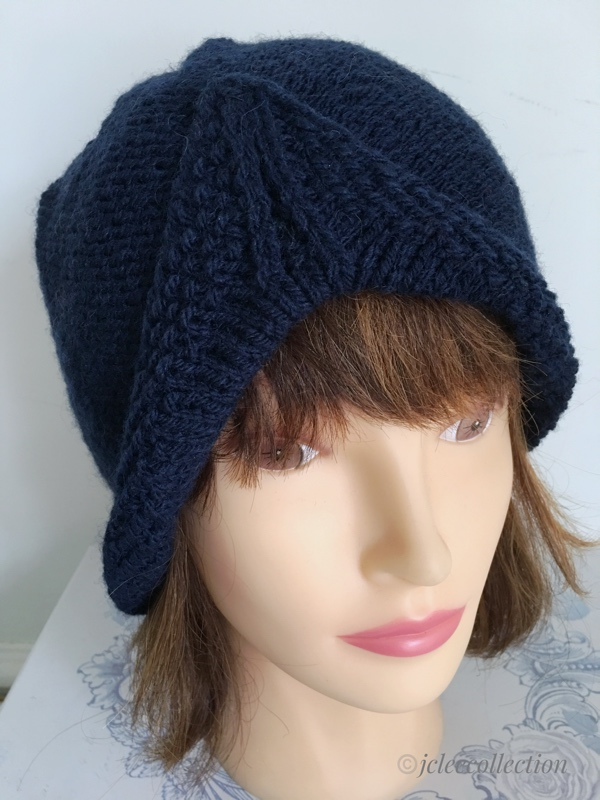 e4098f63d38b2 Navy Blue 1940s Style Turban Beanie Hat Hand Knitted - JCLH031 - J C ...
