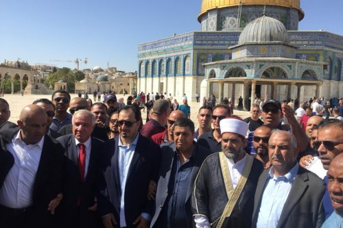The Saudi national soccer team visited the al-Aqsa mosque in Jerusalem, October 14, 2019