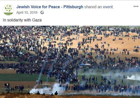 """[תמונה: אירוע תמיכה של JVP בהתקהלות על גבול ישראל בהובלת חמאס. גל""""צ (2018)]."""