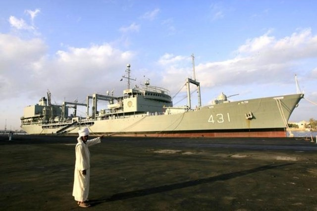 The Iranian Navy's Kharg support ship arriving in Port Sudan in 2012. It was accompanied by the Iranian destroyer, the Shahid Naqdi. (Iran Navy – IRIN)