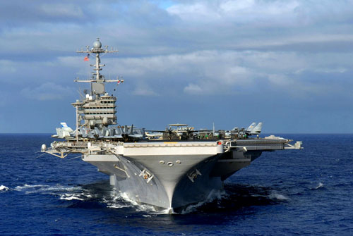 The U.S. Navy aircraft carrier USS John C. Stennis. (AP Photo/US Navy, Ron Reeves)