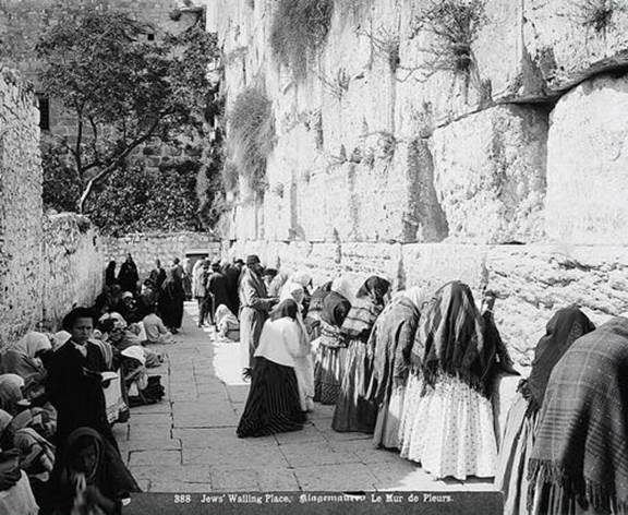 Jewish worshippers at the Western Wall in 1912 (Eric Matson, Government Press Office)