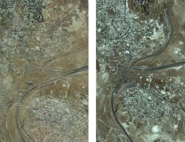 Palestinian Construction Encroaching on the Jerusalem-Maale Adumim Highway (1989 vs. 2012)
