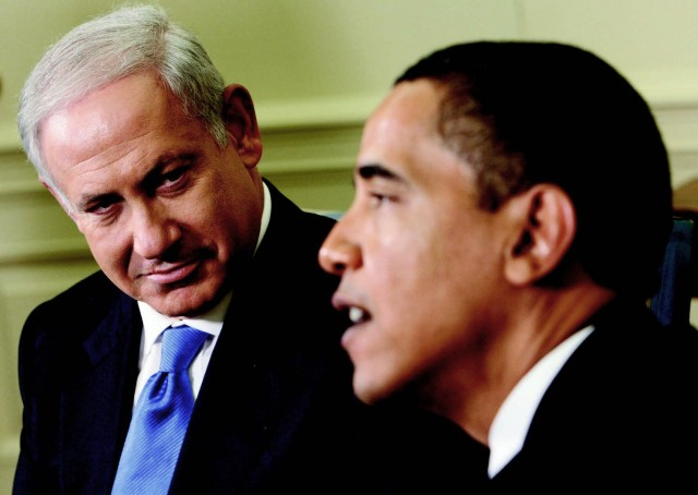 Prime Minister Benjamin Netanyahu and President Barack Obama at the White House during the first official meeting between the two leaders, May 18, 2009.