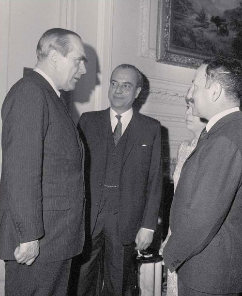 Lord Caradon (left), Britain's ambassador to the UN in 1967, who drafted Resolution 242 with Ambassador Arthur Goldberg of the U.S. (AP Photo) - The Misleading Interpretation of Security Council Resolution 242 (1967)