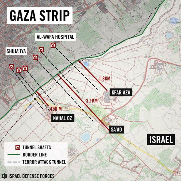 Hamas tunnels open just meters away from the center of Israeli communities near the Gaza border. (IDF/Facebook)