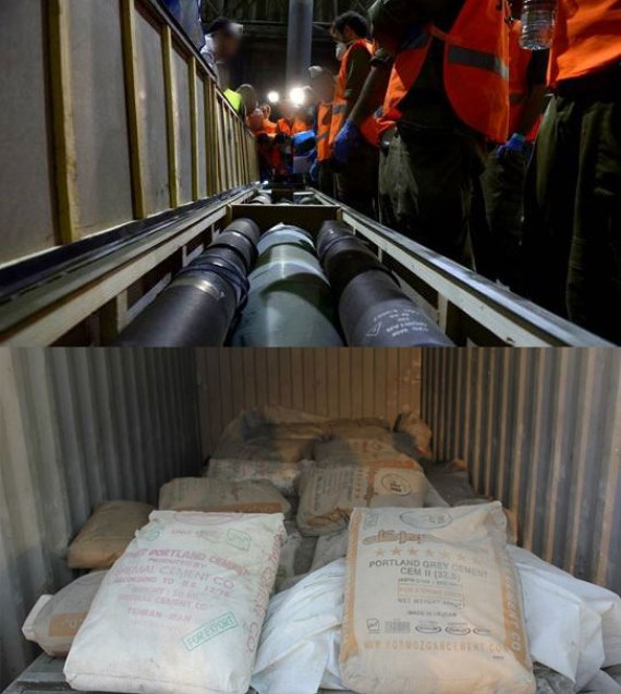 Missiles (above) and cement for tunnel construction (below) from Iran on the Klos-C ship, intercepted by the IDF on March 5, 2014. (IDF/Flickr)