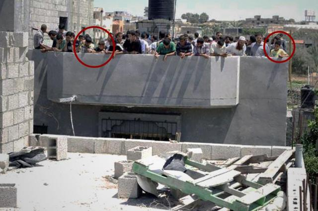 "IDF tweet, July 20, 2014: ""We fired a warning shot at this target in Gaza. In response, these civilians ran to the roof and brought their kids."""
