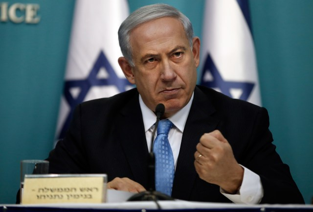 Prime Minister Benjamin Netanyahu speaks to the media on Aug. 27, 2014. He emphasized that Hamas did not achieve any of its original conditions for a ceasefire. (AFP/Thomas Coex)