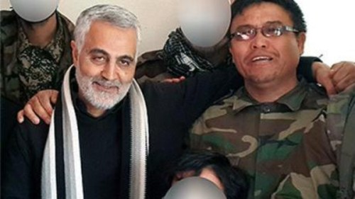 Afghan Shiite commander Ali Reza Tavassoli (right) with the commander of the Iranian Qods Force Qassem Soleimani (left).