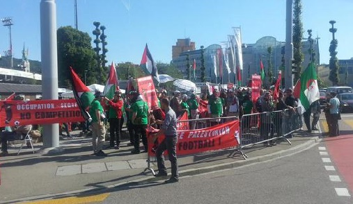 "The slogan ""Red card for apartheid"" also helps forge a ""red-green"" alliance between the Brotherhood and the European left."
