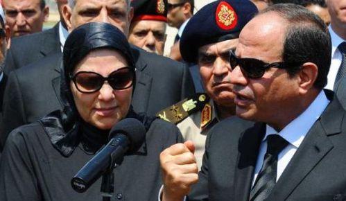 Egyptian President Abdel-Fattah El-Sisi speaks at the funeral for Hisham Barakat, Egypt's prosecutor-general. (Egyptian Presidency via AP)