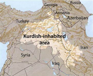 The light-colored portion of the map is the area inhabited by the Kurds. Wikimedia Commons.