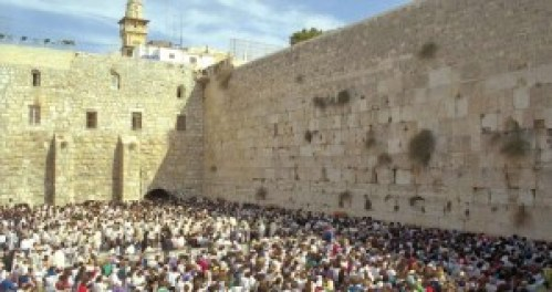 Freedom of worship for Jews at the Western Wall. During the Jordanian period and the British period, Jews' access to their sacred site was restricted or denied. (Government Press Office)