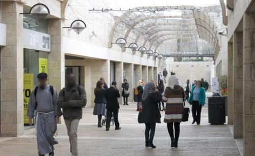 The Mamilla Promenade—a common space for Jewish and Arab commerce. (Photograph: Ariel Shragai)