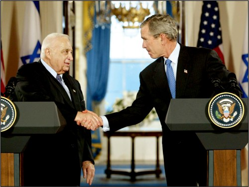 Israeli Prime Minister Ariel Sharon and U.S. President George W. Bush