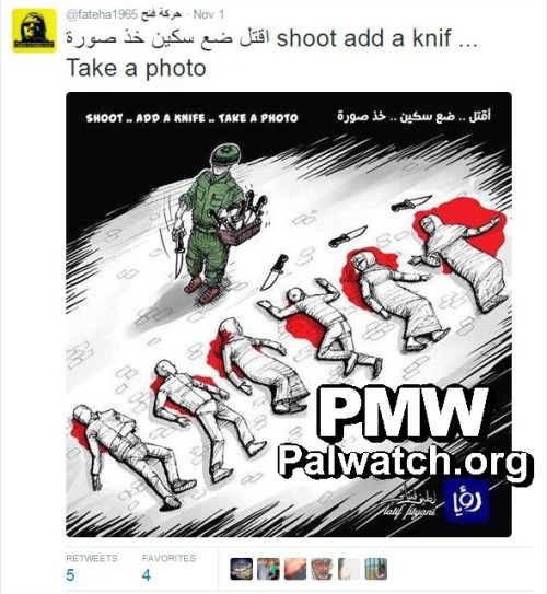 "Palestinian cartoon claiming Israel ""plants"" evidence after stabbings. (Palwatch )"