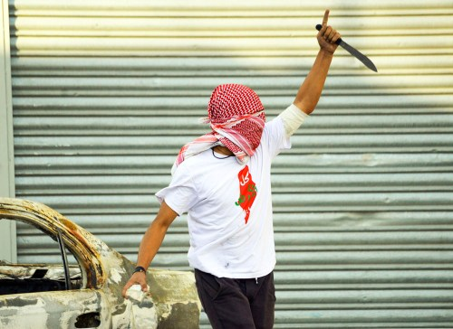 A Palestinian demonstrator in Jerusalem