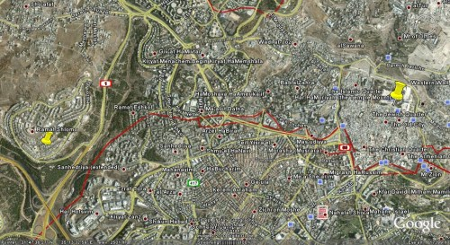 Jerusalem map by Google Earth