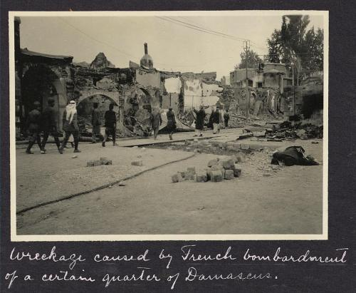 The early challenges to Sykes-Picot. Wreckage in Damascus after French bombardment, 1925. (Library of Congress)