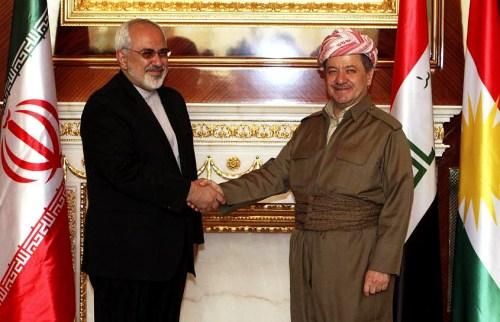 Iranian Foreign Minister Zarif and Kurdish President Barzani