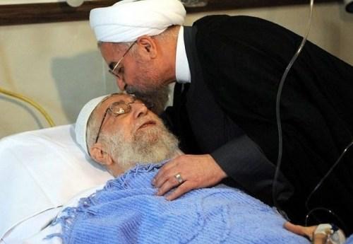 Iran's President Hassan Rouhani visited Ayatollah Khamenei in hospital after his 2014 surgery