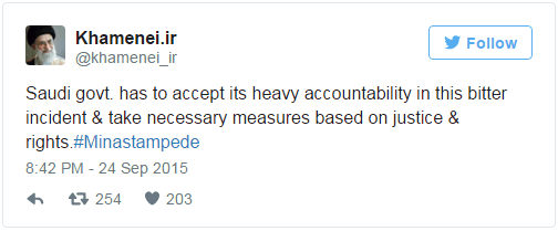Saudi govt. has to accept its heavy accountability in this bitter incident & take necessary measures based on justice & rights.#Minastampede — Khamenei.ir (@khamenei_ir) September 24, 2015
