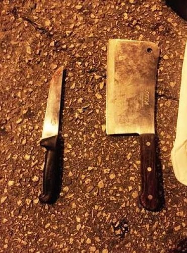 Knives in possession of attacker in Jerusalem.