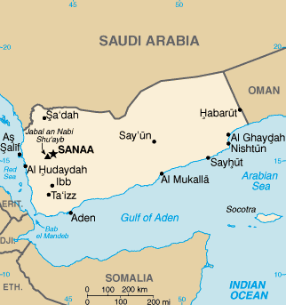 Map of Yemen and the strategic Bab el Mandeb Strait