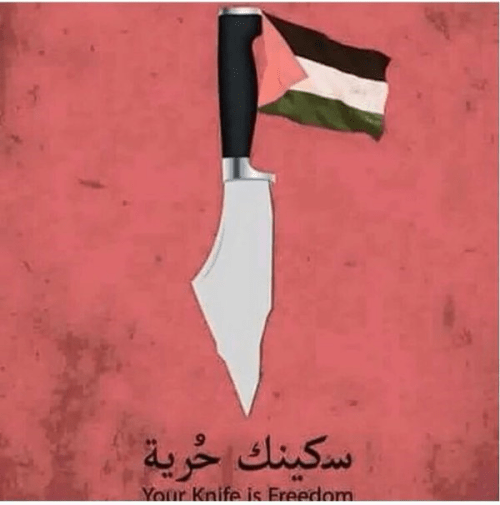 A knife in the shape of the Greater Land of Israel adorned with the Palestinian flag