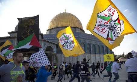 Fatah flags on the Temple Mount