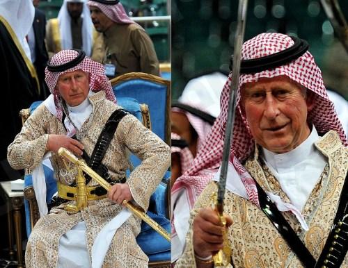 Prince Charles performing a Saudi sword dance in Saudi Arabia, 2014 (KSA News)