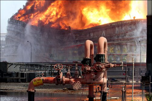 The sabotaged Bou-Ali-Sina Petrochemical Complex in Bandar-E Mahshahr, Khuzestan