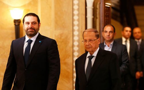 Saad Hariri (left) and Michel Aoun (right)