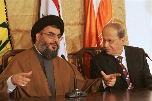 Hizbullah leader Hassan Nasrallah with new Lebanese president Michel Aoun