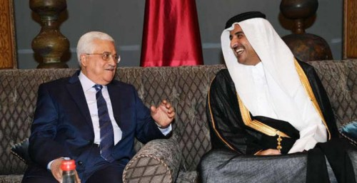 Abbas and the Emir of Qatar, Sheikh Tamim bin Hamad al-Thani.